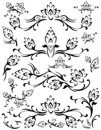 bordures fleurs: Divers tourbillonnant fleur feuillage designs. Noir sur fond blanc.