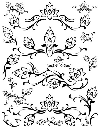 decorate element: Various swirling flower foliage designs. Black on a white background.