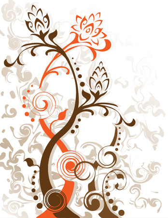 Swirling flower foliage designs. Created in earth tones. Vector