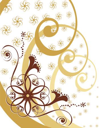 旋回の花葉のリボンをデザインします。ゴールドの色調の白い背景を作成します。