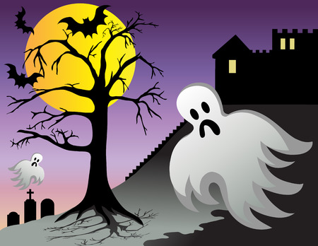 Spooky halloween ghost and bats fly around castle with graves at night. Vector