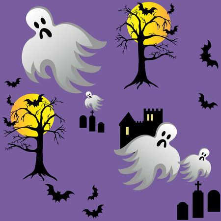 Spooky halloween ghost and bats fly around castle with graves at night. Seamless tile wallpaper.