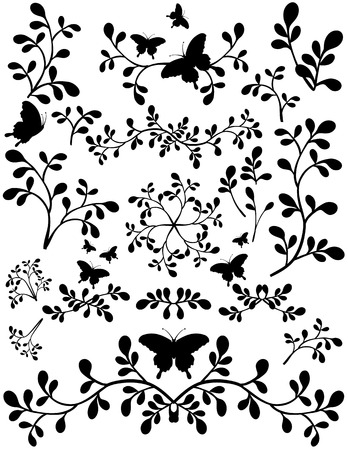 swirling: Silhouettes swirling foliage butterfly designs. Black on a white background.