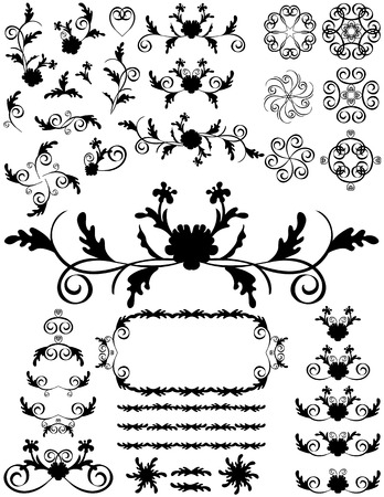 Silhouettes swirling foliage designs. Black on a white background. Vector