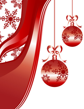 Holiday Christmas ornaments in shades of red with snowflakes and swirls.