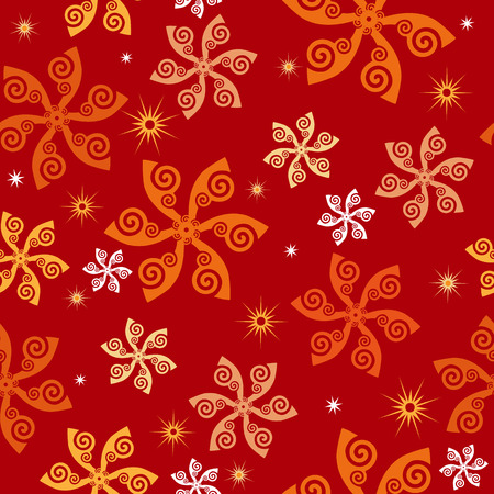 Swirling flowers pinwheels snowflakes seamless wallpaper tile. In earth tone colors. Vector