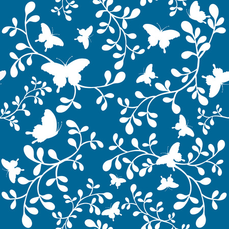 Butterflies floral seamless wallpaper tile. Created in rich teal blue green and white.