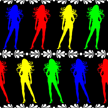 Seamless wallpaper tile women in high heel shoes. Colors blue red yellow green white black. Illustration