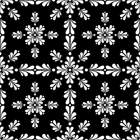 Victorian style seamless wallpaper tile. Created in black and white. Ilustrace