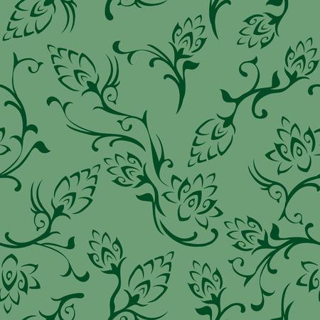 シームレスな花の壁紙のタイル。緑の色合いで作成されます。  イラスト・ベクター素材