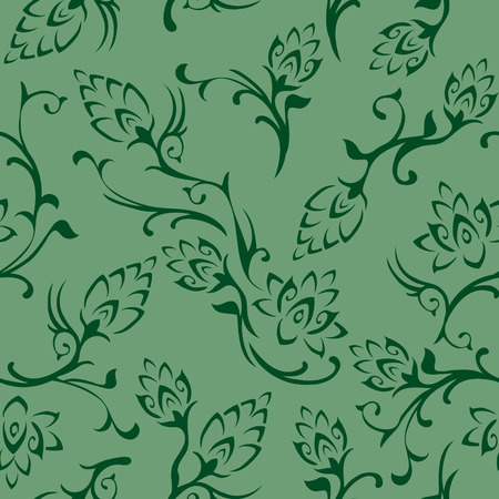 Floral seamless wallpaper tile. Created in shades of green. Vettoriali