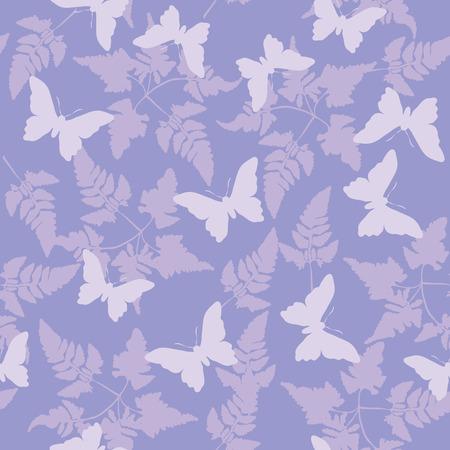 Naadloze continue achtergrond tegel. Vlinders fladderen rond varens in paarse tinten.