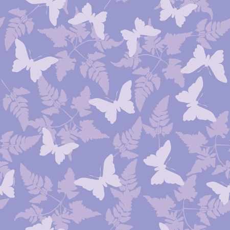 Seamless continuous wallpaper tile. Butterflies fluttering around ferns created in purple tones. Vector