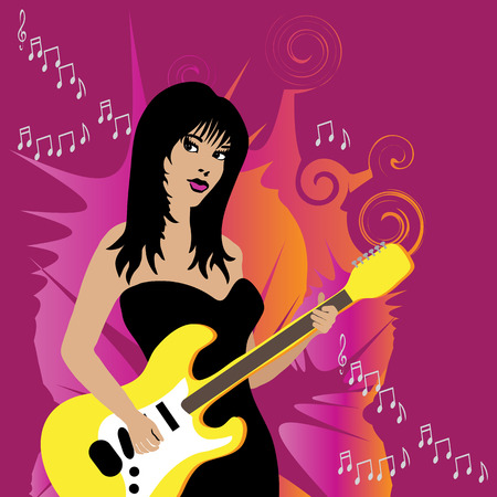 pinks: Woman is playing a yellow electric guitar. Colorful background in orange and pinks with musical song notes.