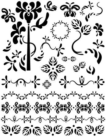 区切りページ、装飾、装飾品や区切り記号としてユニークなグラフィックに便利です。花と蝶のデザイン。黒、白の背景にデザインを。  イラスト・ベクター素材