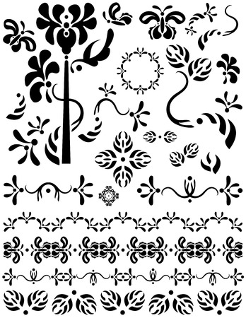 Unique graphics useful as page dividers, decorations, ornaments and separators. Flower and butterfly designs. Black designs on a white background. Vector