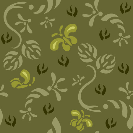 Seamless continuous wallpaper tile. Butterflies fluttering around foliage created in green tones. Vector