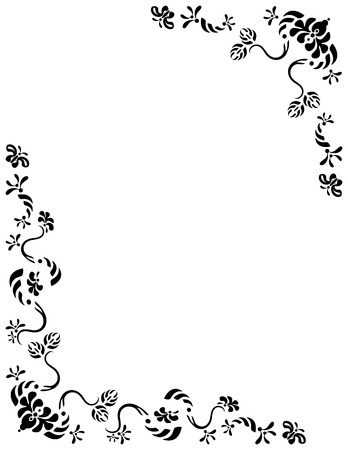 Butterflies fluttering around foliage. Created in black on a white background. Add your own text if desired. Suitable for cards, flyers, letterheads, scrapbook, stationary.