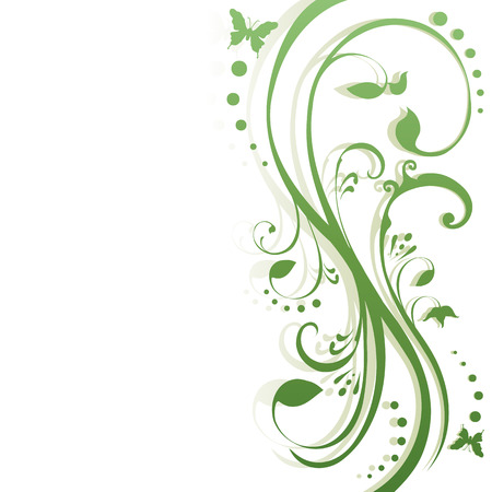 Butterflies fluttering around foliage. Floral background in shades of green, simple gradient. Place for your text. Vectores