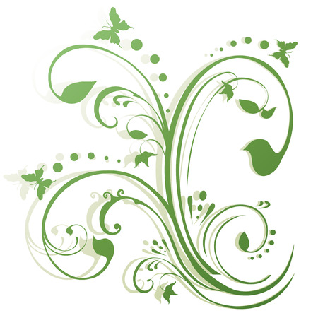 flourishes: Butterflies fluttering around foliage. Floral background in shades of green, simple gradient. Illustration