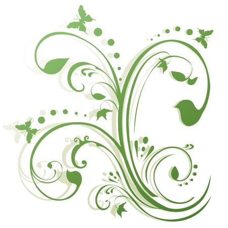 Vlinders fladderen rond bladerdek. Floral achtergrond in de kleuren groen, eenvoudige kleurverloop. Stock Illustratie