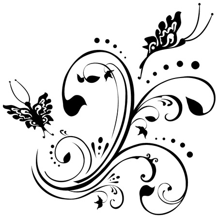 Butterflies fluttering around foliage. Floral design in black on a white background.