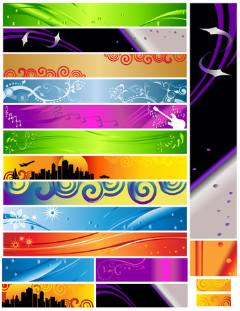 18 Banners multi themes and colors 468x60 120x600 88x31. Colorful decorative designs include city, curves, foliage, guitar, music and more. Ilustração