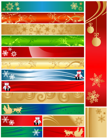holiday: Christmas detailed holiday banners 468x60 120x600 120x170. Colorful decorative designs include snowflakes, ornaments, snowman, santa, swirls. Illustration