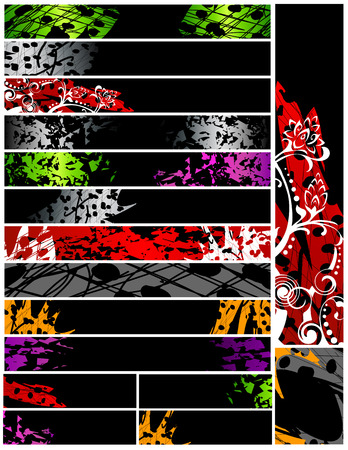 desired: Grunge diecis�is banderas 468x60 120x600 120x170. Resumen grungy dise�os decorativos en negro, rojo, verde, violeta, gris, naranja, blanca. A�ada su texto si as� lo desea.
