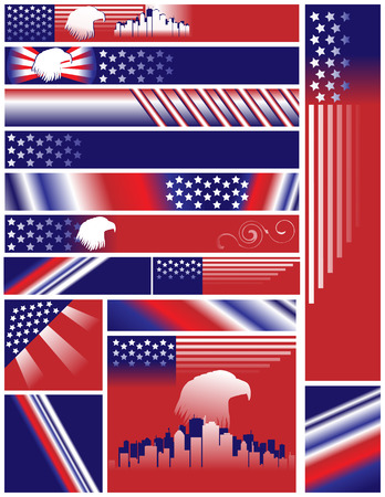 Fourth of July Independence Day United States banners 468x60 234x60 156x145 156x156 300x50 300x250 120x600 120x170. Colorful decorative designs include your text if desired. Ilustração