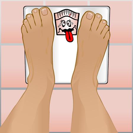 Guarda le persone di una ponderazione stessi piedi su una scala di stanza da bagno.