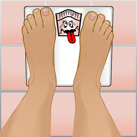 View of a persons feet weighting themselves on a bathroom scale.