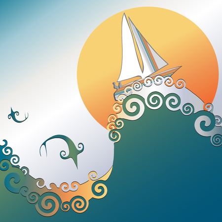 Sailboat on ocean waves. Fish jumping with sun in background. Colors are blue, green, orange, white. Vector
