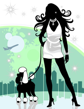 timeshare: Wealthy lady walking dog with city and airplane in background. Created in shades of green, black and white.