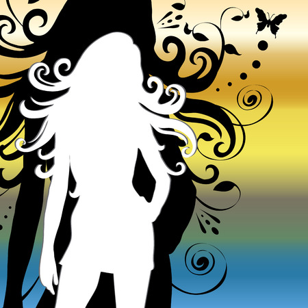 Woman silhouet met lange wapperende haren. Stock Illustratie
