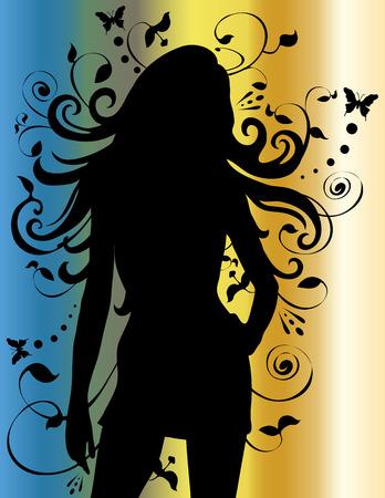 長い髪の流れを持つ女性のシルエット。
