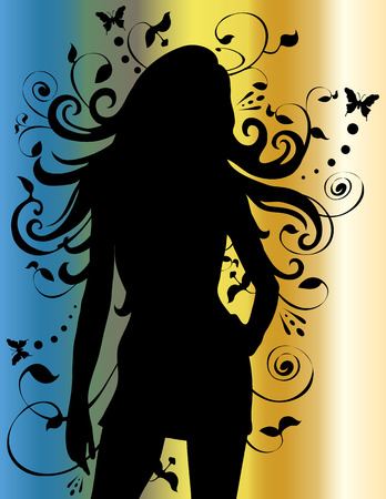 Woman silhouette with long flowing hair.  Ilustracja