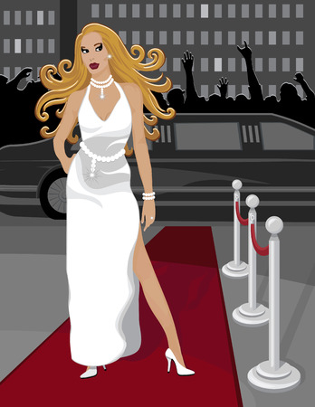 Lady living a luxury lifestyle walks down the red carpet after arriving in a limousine.  Visible in the background is her limo, a waving crowd of fans and city buildings. Vector