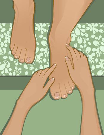 kneading: Visualizzazione di una persona che riceve un massaggio pedicure e piedi francese. Piedi di riposo a bordo del piede con pattern. Creato in tonalit� di verde.