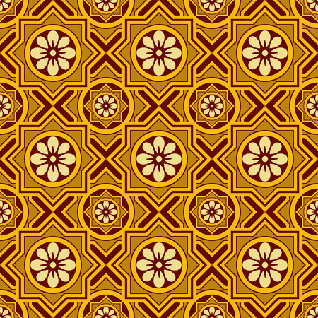 Seamless continuous wallpaper tile. Created in earth tones with golds and brown.