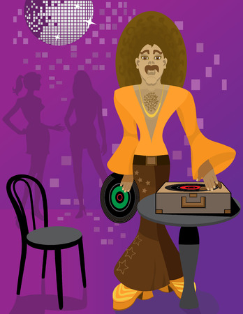 DJ with Afro hairstyle playing vinyl LP records. DJ is wearing Bell Bottom Pants. Retro Disco ball and highlights. Ladies and background in shades of purple