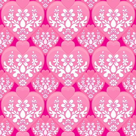 Seamless continuous wallpaper tile. Romantic valentine heart shapes and floral design. Created in passionate pink tones.