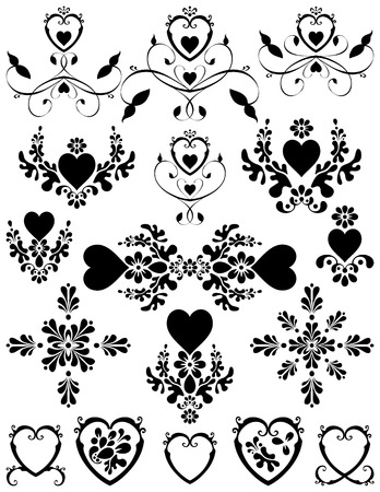 Swirling hearts with flower foliage designs. Unique graphics useful as page dividers, decorations, ornaments and separators.
