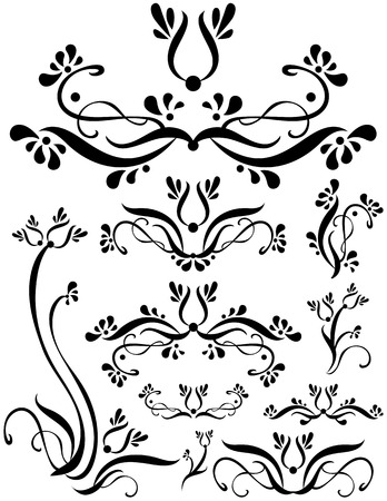 useful: Swirling flower foliage designs. Unique graphics useful as page dividers, decorations, ornaments and separators.