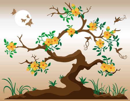 thrive: Blooming tree with hummingbirds and butterflies. Deep yellow flowers with orange center. Grass and plants at underneath tree. Bark is in shades of brown. Illustration