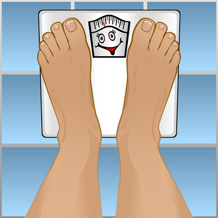 weigh: View of a persons feet weighting themselves on a bathroom scale.