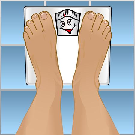 weight loss plan: Visualizzazione di un piedi persone ponderazione stessi su una scala di stanza da bagno.