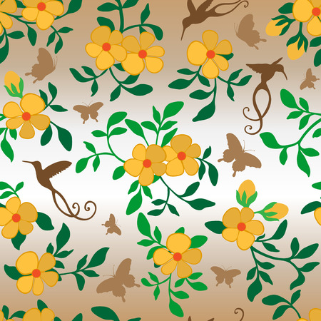 computer art: Seamless continuous wallpaper tile. Flowers with leafs, hummingbirds and butterflies. Created in yellow, orange, green and brown colors.