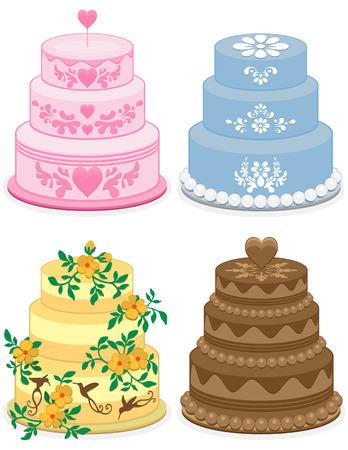 Fancy cakes voor verjaardag, verjaardag, viering, graduatie, partij, bruiloft. Roze hart cake van de Valentijnskaart. Bloem blauwe schuif taart. Bloem en hummingbird oranje geel taart. Brown Chocolate cake.  Vector Illustratie