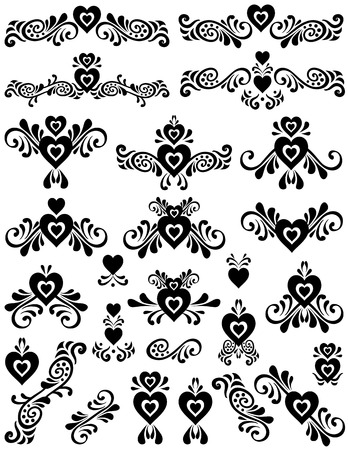 useful: Swirling hearts designs. Unique graphics useful as page dividers, decorations, ornaments and separators.